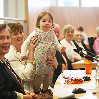 Marcus Horan's daughter Heather Horan with her Grandmother Mary Ryan watching her dad at the Civic Reception for the Clare's Rugby Heroes at Clare County Council on Monday evening.<br /> <br /> Photograph by Eamon Ward