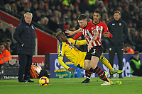 Football - 2018 / 2019 Premier League - Southampton vs. Crystal Palace<br /> <br /> Southampton's Pierre-Emile Hojbjerg pushes Wilfried Zaha of Crystal Palace off the ball during the Premier League match at St Mary's Stadium Southampton <br /> <br /> COLORSPORT/SHAUN BOGGUST