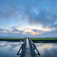 Cape Cod fine art photography of the iconic Sandwich Boardwalk on a foggy morning in Sandwich, MA.<br />