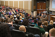 Every seat was filled for the Ohio University chapter of Associated Press Sports Editors, in partnership with Kappa Alpha Psi Fraternity Inc., presentation of ESPN NBA sports reporter Chris Broussard on Thursday, March 26, 2015.