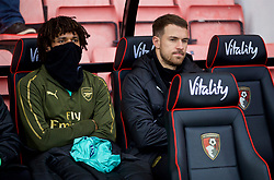 BOURNEMOUTH, ENGLAND - Sunday, November 25, 2018: Arsenal's substitute Aaron Ramsey on the bench before the FA Premier League match between AFC Bournemouth and Arsenal FC at the Vitality Stadium. (Pic by David Rawcliffe/Propaganda)