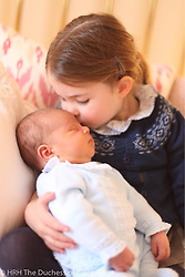"""Kensington Palace releases a photo on Twitter with the following caption: """"""""This image of Prince Louis was taken by The Duchess of Cambridge at Kensington Palace on 26th April.<br /> <br /> The Duke and Duchess would like to thank members of the public for their kind messages following the birth of Prince Louis, and for Princess Charlotte's third birthday."""""""". Photo Credit: Twitter *** No USA Distribution *** For Editorial Use Only *** Not to be Published in Books or Photo Books ***  Please note: Fees charged by the agency are for the agency's services only, and do not, nor are they intended to, convey to the user any ownership of Copyright or License in the material. The agency does not claim any ownership including but not limited to Copyright or License in the attached material. By publishing this material you expressly agree to indemnify and to hold the agency and its directors, shareholders and employees harmless from any loss, claims, damages, demands, expenses (including legal fees), or any causes of action or allegation against the agency arising out of or connected in any way with publication of the material."""