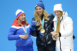 February 14, 2018 - Pyeongchang, South Korea - MAIKEN CASPERSEN FALLA of Norway (left) , STINA NILSSON of Sweden (center) and YULIA BELORUKOVA of Russia (right) with their medals from the Woman's Sprint Classic cross country skiing event in the PyeongChang Olympic games. (Credit Image: © Christopher Levy via ZUMA Wire)