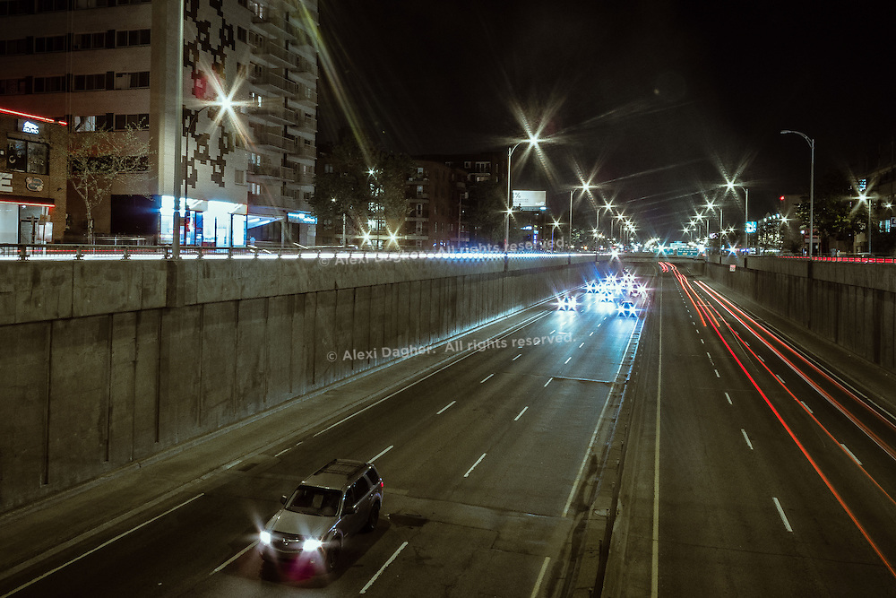 Movie scene filming at night, last sunday - Decarie Expressway, Montreal, May 2016