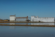 Grain silos used to store rice on the edge of rice paddies in rural Elton, Louisiana.