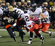 Tennent's Mike Pitcher #7 returns a kickoff against Truman in the first quarter Friday October 30, 2015 at Harry S. Truman High School in Levittown, Pennsylvania.  (Photo by William Thomas Cain)