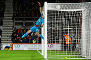 Emiliano Martinez (26) of Arsenal covers the bar as a shot at goal by Harry Wilson (22) of AFC Bournemouth hits the top of the net during the The FA Cup match between Bournemouth and Arsenal at the Vitality Stadium, Bournemouth, England on 27 January 2020.
