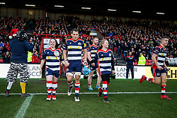 Olly Robinson (capt) of Bristol Rugby walks out with the mascots - Rogan Thomson/JMP - 26/12/2016 - RUGBY UNION - Ashton Gate Stadium - Bristol, England - Bristol Rugby v Worcester Warriors - Aviva Premiership Boxing Day Clash.