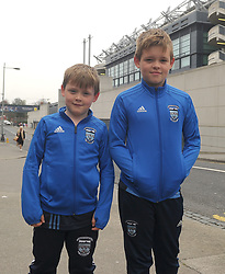 Fiachra and Fionn Kinsella pictured at Croke Park supporting Rice College in the Hogan Cup Final<br /> Pic Conor McKeown