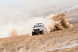 Nasser Al-Attiyah (QAT) of Toyota Gazoo Racing SA races during stage 04 of Rally Dakar 2019 from Arequipa to o Tacna, Peru on January 10, 2019 // Marcelo Maragni/Red Bull Content Pool // AP-1Y39DQQ7H2111 // Usage for editorial use only // Please go to www.redbullcontentpool.com for further information. //