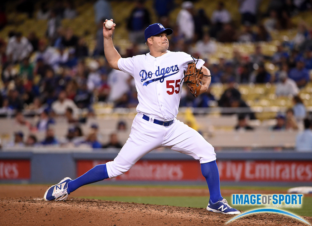 May 16, 2016; Los Angeles, CA, USA; Los Angeles Dodgers relief pitcher Joe Blanton (55) delivers a pitch against the Los Angeles Angels during an interleague MLB game at Dodger Stadium. The Angels defeated the Dodgers 7-6.