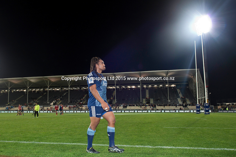 Ofa Tu'ungafasi of the Blues leaves the pitch after the Investec Super Rugby match between the Crusaders and Blues at AMI Stadium in Christchurch, New Zealand. 25 April 2015. Photo: Kai Schwoerer / www.photosport.co.nz
