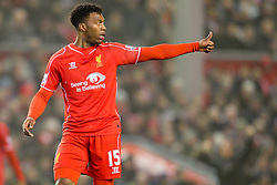 Liverpool's Daniel Sturridge gestures  - Photo mandatory by-line: Matt McNulty/JMP - Mobile: 07966 386802 - 10/02/2015 - SPORT - Football - Liverpool - Anfield - Liverpool v Tottenham Hotspur - Barclays Premier League