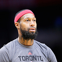 22 November 2015:  Toronto Raptors forward James Johnson (3) warms up prior to the Toronto Raptors 91-80 victory over the Los Angeles Clippers, at the Staples Center, Los Angeles, California, USA.