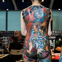 Participant show the tattoo at the 2017 Hong Kong China International Tattoo Convention at the Kai Tak Cruise Terminal on 29 September 2017, in Hong Kong, China. Photo by Kam Kwok Wong Concord / studioEAST