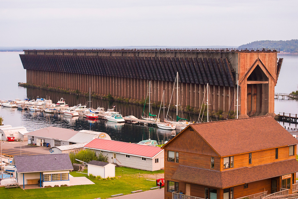 The Lower Harbor waterfront of Marquette, Michigan in summer.