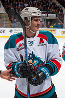 KELOWNA, CANADA - NOVEMBER 11: James Hilsendager #2 of the Kelowna Rockets stands on the ice in front of the bench against the Red Deer Rebels on November 11, 2017 at Prospera Place in Kelowna, British Columbia, Canada.  (Photo by Marissa Baecker/Shoot the Breeze)  *** Local Caption ***