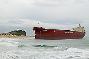 Stranded Coal carrier at Nobbys Beach, Newcastle, NSW Australia. The Pasha Bulker was forced aground by a fierce storm in  June 2007. after a very expensive and complicated procedure it was refloated a month later.