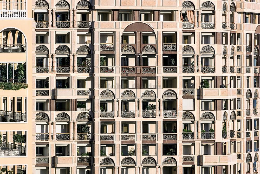 Luxury apartment building detail, Fontvieille, Monaco