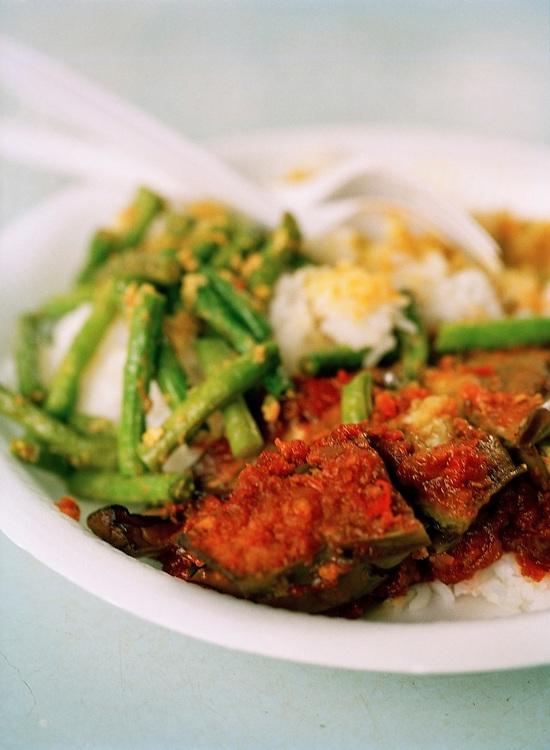 Nasi padang: Malay food on rice -- eggplant sambal, chicken curry and green beans at Newton Circus hawker center
