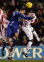 Photo: Paul Thomas.<br /> Stoke City v Cardiff City. Coca Cola Championship. 28/11/2006.<br /> <br /> Cardiff's Steven Thompson (Blue) in action.
