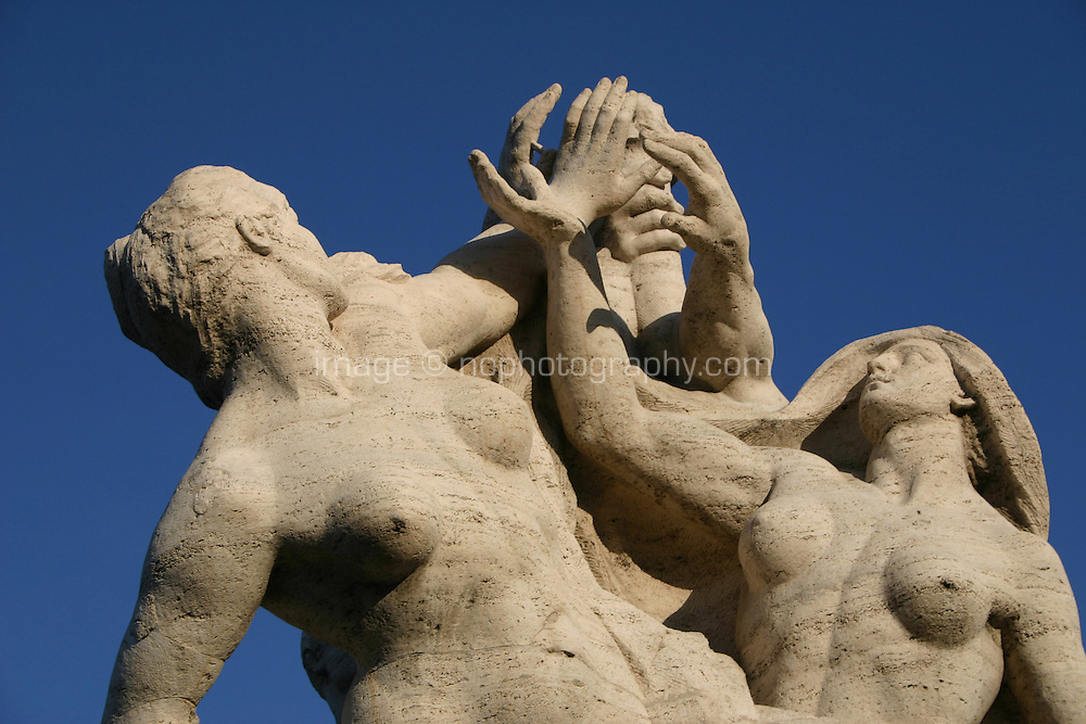 Statues on a bridge in Rome Italy<br />