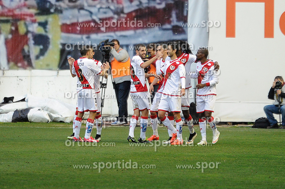 28.02.2015, Campo de Futbol, Madrid, ESP, Primera Division, Rayo Vallecano vs Levante UD, 25. Runde, im Bild Rayo Vallecano&acute;s players celebrates a goal // during the Spanish Primera Division 25th round match between Rayo Vallecano and Levante UD at the Campo de Futbol in Madrid, Spain on 2015/02/28. EXPA Pictures &copy; 2015, PhotoCredit: EXPA/ Alterphotos/ Luis Fernandez<br /> <br /> *****ATTENTION - OUT of ESP, SUI*****