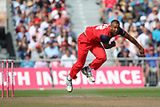 Lancashire Lightnings Liam Hurt  during the Vitality T20 Blast North Group match between Lancashire Lightning and Derbyshire Falcons at the Emirates, Old Trafford, Manchester, United Kingdom on 26 August 2019.