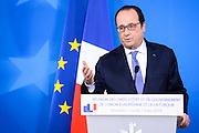 Brussels 8 March 2016<br /> <br /> Press conference closing the informal meeting of Heads of State or Government of the European Union and Turkey to discuss the migration and refugee crisis and the meeting of the members of the European Council.<br /> <br /> Pix Francois Hollande<br /> <br /> Credit Melanie Wenger / Isopix