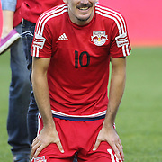 HARRISON, NEW JERSEY- OCTOBER 16:  Sacha Kljestan #16 of New York Red Bulls watching his daughter during end of game presentations after the New York Red Bulls Vs Columbus Crew SC MLS regular season match at Red Bull Arena, on October 16, 2016 in Harrison, New Jersey. (Photo by Tim Clayton/Corbis via Getty Images)