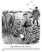 "The Enemy of the People. German Junker. ""How perfectly our sword has been converted into a plough-share! And, when we have ploughed enough, how easily we can convert it back!"" (a German land owner looks on as his farmer ploughs a field during the InterWar era)"