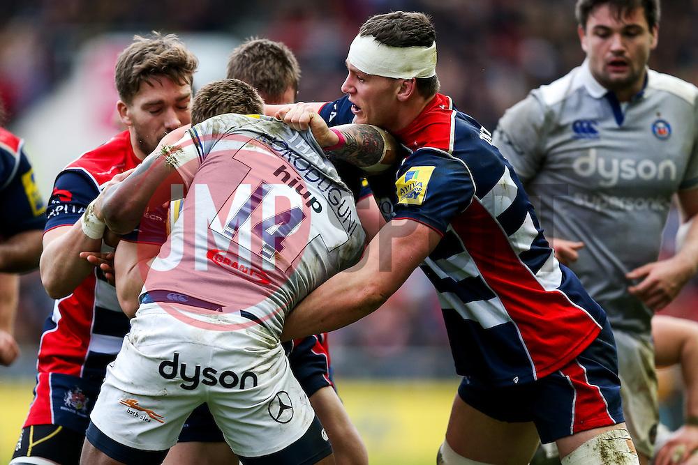 Sam Jeffries of Bristol Rugby tackles David Lemi - Rogan Thomson/JMP - 26/02/2017 - RUGBY UNION - Ashton Gate Stadium - Bristol, England - Bristol Rugby v Bath - Aviva Premiership.