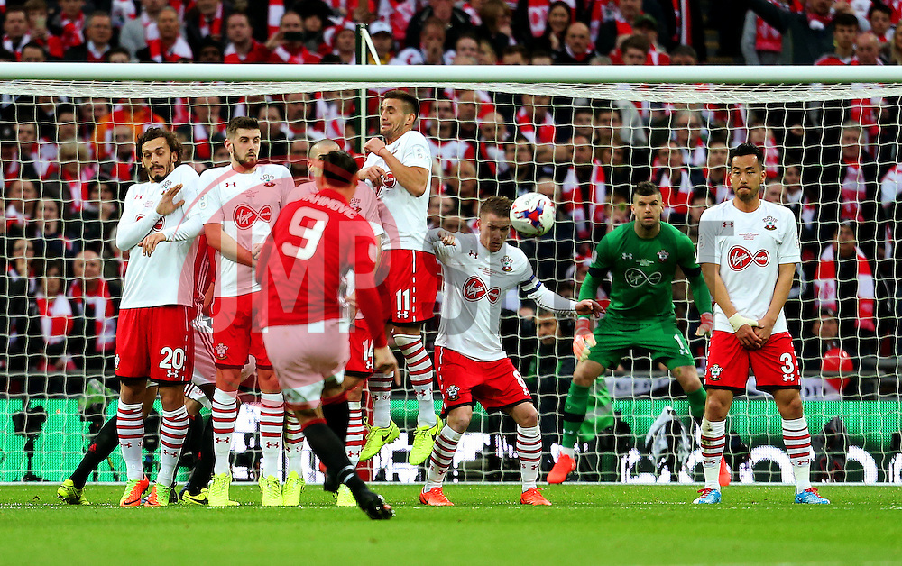 Zlatan Ibrahimovic of Manchester United scores his sides first goal from a free kick - Mandatory by-line: Matt McNulty/JMP - 26/02/2017 - FOOTBALL - Wembley Stadium - London, England - Manchester United v Southampton - EFL Cup Final