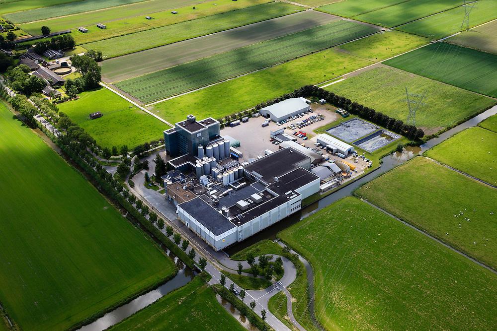 Nederland, Noord-Holland, Beemster, 14-06-2012; De Beemster, 400 jaar 1612 - 2012. Fabriek van CONO Kaasmakers, een cooperatie. De kaasfabriek aan de Rijperweg maakt Beemsterkaas. .CONO cheesemakers, a cooperative. The cheese factory makes Beemster cheese..De 17e eeuwse droogmakerij, met haar  beroemde geometrische verkaveling, maakt deel uit van het wereld erfgoed (Unesco werelderfgoedlijst). The famous geometrical well-ordered polder Beemster, 17th century  reclaimed landscape, Unesco world heritage..luchtfoto (toeslag), aerial photo (additional fee required);.copyright foto/photo Siebe Swart