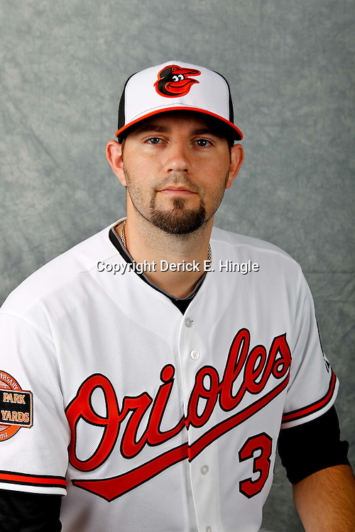 March 1, 2012; Sarasota, FL, USA; Baltimore Orioles pitcher Jason Hammel (39) poses for a portrait during photo day at the spring training headquarters.  Mandatory Credit: Derick E. Hingle-US PRESSWIRE
