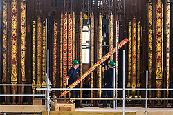 © Licensed to London News Pictures. 09/10/2018. York UK. Work has started this morning on a major, once-a-century project to refurbish York Minster's Grand Organ. Throughout October, organ specialists Harrison and Harrison will remove the instrument – including almost all its 5,403 pipes – and take it to their workshop in Durham for repair and rebuilding. The refurbishment work is the first on this scale since 1903. It will cost £2m and take around two years to complete, with the restored instrument due to be ready for use in autumn 2020.Photo credit: Andrew McCaren/LNP