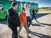 18 OCTOBER 2019 - CRAWFORDSVILLE, IOWA: US Senator AMY KLOBUCHAR (D-MN), center, arrives at W2 Fuel, a biofuels refinery that makes biodiesel from soybeans. W2 Fuel closed about a month ago because of low demand for biofuels. Sen. Klobuchar is on barnstorming bus tour of southeast Iowa this weekend. She is campaigning to be the Democratic nominee for the US Presidency. In addition to campaign meet and greet events, she stopped at a biofuels plant to learn about the difficulties farmers and biofuels producers face because of the trade war with China. Iowa holds the first selection event of the Presidential election cycle. The Iowa caucuses are Feb. 3, 2020.         PHOTO BY JACK KURTZ