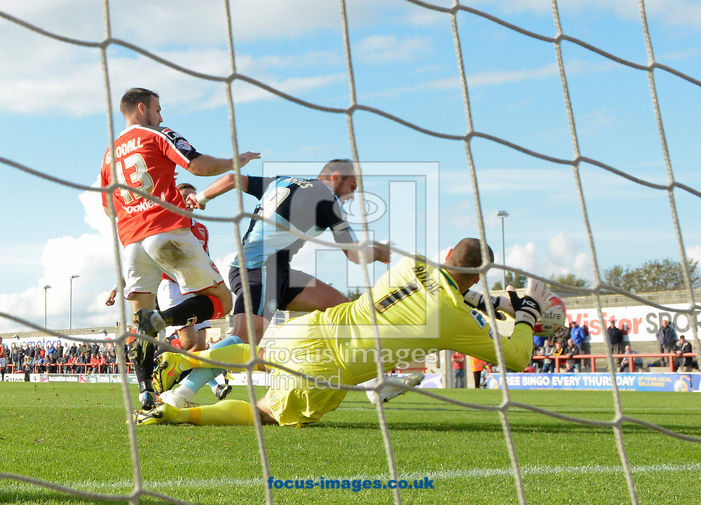 Paul Hayes of Wycombe Wanderers makes it 2-0 during the Sky Bet League 2 match at the Globe Arena, Morecambe<br /> Picture by Russell Hart/Focus Images Ltd 07791 688 420<br /> 11/10/2014