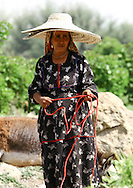 Yemen, Taiz, Yemeni old woman from Jebel Saber wearing two hats.