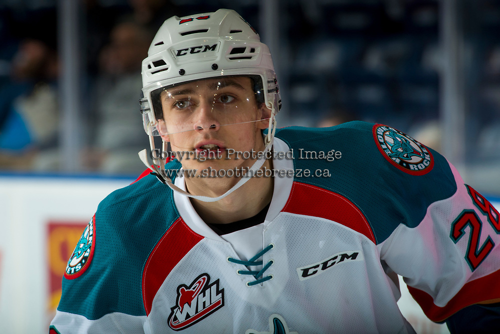 KELOWNA, CANADA - FEBRUARY 24: Leif Mattson #28 of the Kelowna Rockets warms up against the Kamloops Blazers  on February 24, 2018 at Prospera Place in Kelowna, British Columbia, Canada.  (Photo by Marissa Baecker/Shoot the Breeze)  *** Local Caption ***
