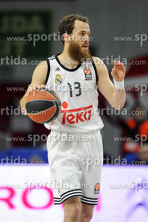 15.04.2015, Palacio de los Deportes stadium, Madrid, ESP, Euroleague Basketball, Real Madrid vs Anadolu Efes Istanbul, Playoffs, im Bild Real Madrid&acute;s Sergio Rodriguez // during the Turkish Airlines Euroleague Basketball 1st final match between Real Madrid vand Anadolu Efes Istanbul t the Palacio de los Deportes stadium in Madrid, Spain on 2015/04/15. EXPA Pictures &copy; 2015, PhotoCredit: EXPA/ Alterphotos/ Luis Fernandez<br /> <br /> *****ATTENTION - OUT of ESP, SUI*****