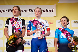 Top three: Rozanne Slik (NED), Ellen van Dijk (NED) and Malgorzata Jasinska (POL) at Lotto Thuringen Ladies Tour 2018 - Stage 5, a 102.9 km road race starting and finishing in , Germany on June 1, 2018. Photo by Sean Robinson/velofocus.com