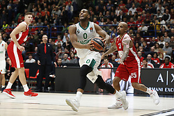November 9, 2017 - Assago, Milan, Italy - Brandon Davies (#0 Zalgiris Kaunas) drives to the basket during a game of Turkish Airlines EuroLeague basketball between  AX Armani Exchange Milan vs Zalgiris Kaunas at Mediolanum Forum on November 9, 2017 in Milan, Italy. (Credit Image: © Roberto Finizio/NurPhoto via ZUMA Press)