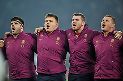 Rob Webber, David Wilson, Ben Morgan and Dylan Hartley of England sing the national anthem - Photo mandatory by-line: Patrick Khachfe/JMP - Mobile: 07966 386802 22/11/2014 - SPORT - RUGBY UNION - London - Twickenham Stadium - England v Samoa - QBE Internationals