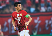 GUANGZHOU, CHINA - MAY 03:  Zheng Zhi of Guangzhou Evergrande in action during the AFC Asian Champions League match between Guangzhou Evergrande FC and Sydney FC at Tianhe Stadium on May 3, 2016 in Guangzhou, China.  (Photo by Aitor Alcalde Colomer/Getty Images)