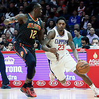 08 January 2018: LA Clippers guard Lou Williams (23) drives past Atlanta Hawks forward Taurean Prince (12) during the LA Clippers 108-107 victory over the Atlanta Hawks, at the Staples Center, Los Angeles, California, USA.