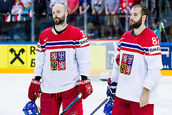 Jakub Klepis of Czech Republic and Michal Vondrka of Czech Republic look dejected after the Ice Hockey match between USA and Czech Republic at Third place game of 2015 IIHF World Championship, on May 17, 2015 in O2 Arena, Prague, Czech Republic. Photo by Vid Ponikvar / Sportida