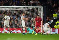 Football - 2019 / 2020 UEFA Champions League - Group B: Tottenham Hotspur vs. Bayern Munich<br /> <br /> Robert Lewandowski of Bayern Munich celebrates scoring his 1st goal and Bayern's 2nd on the stroke of half time, at The Tottenham Hotspur Stadium.<br /> <br /> COLORSPORT/ANDREW COWIE