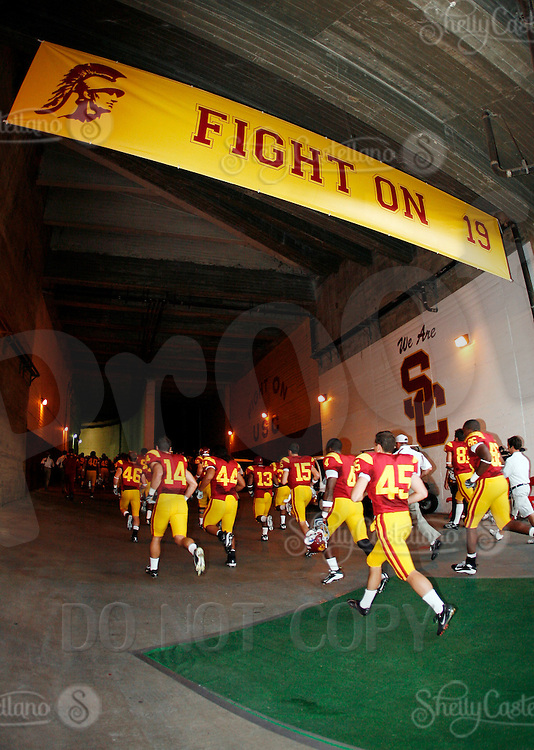1 September 2007: Players run off the field to the locker room under a special banner in honor of deceased PK player Mario Danelo.  USC Trojans college football team defeated the Idaho Vandals 38-10 at the Los Angeles Memorial Coliseum in CA.  NCAA Pac-10 #1 ranked team first game of the season.