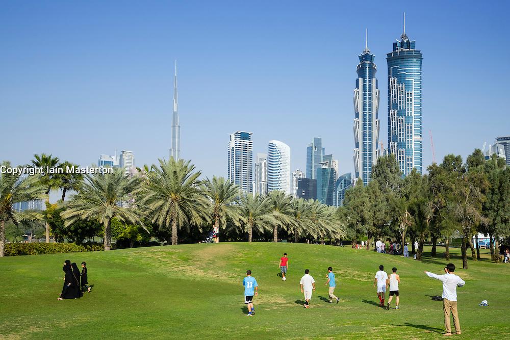 Skyline of Dubai from Al Safa Park in Dubai United Arab Emirates